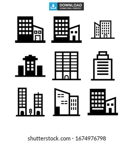 corporate building icon or logo isolated sign symbol vector illustration - Collection of high quality black style vector icons