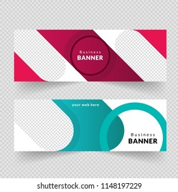 Corporate business banner template, horizontal advertising business banner layout template flat design set , clean geometric abstract cover header background template for website design,