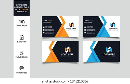 Corporate business card print template. Personal visiting card with company logo. Clean flat stationery design. Vector Illustration