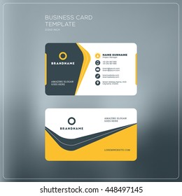 Corporate Business Card Print Template. Personal Visiting Card with company Logo. Black and Yellow Colors. Clean Flat Design. Vector Illustration. Business Card Mockup