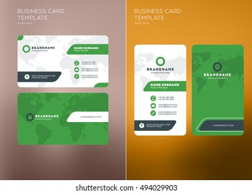 Corporate Business Card Print Template. Personal Visiting Card with Company Logo. Vertical and Horizontal Business Card Templates. Black and Green Color Theme. Business Card Mockup