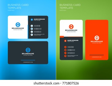 Corporate Business Card Print Template. Vertical and Horizontal Business Card Templates. Vector Illustration. Business Card Mockup