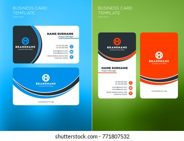 Modern simple dark vertical business card stock vector royalty free corporate business card print template vertical and horizontal business card templates vector illustration reheart Images