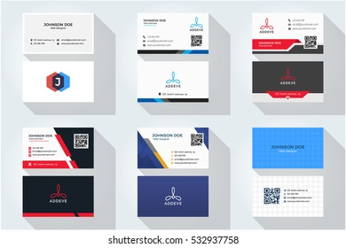 Corporate business card set with abstract logo 3