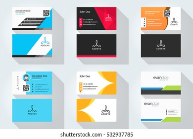 Corporate business card set with abstract logo 1