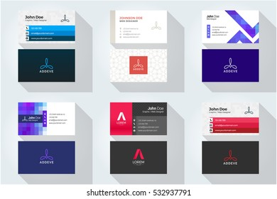 Corporate business card set with abstract logo 4