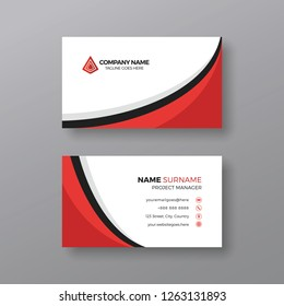 Corporate business card template with red and black details