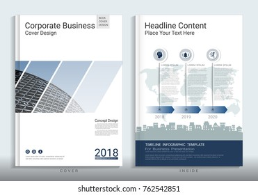 Corporate business cover book design template with infographics, Use for annual report, brochure, flyer, leaflet, sale kit, catalog, magazine, booklet, portfolio, poster, Vector template in A4 layout.