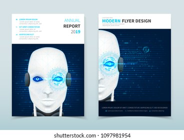 Corporate business flyer design with robot. Face recognition system. Vector template of brochure with concept of robot cybernetic organism with augmented reality. Vector illustration.