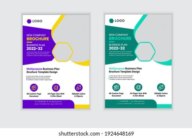 Corporate Business Flyer Design template. Brochure cover design, modern layout, annual report, poster, flyer in A4 with two colors scheme, Corporate Presentation, Portfolio, leaflet design