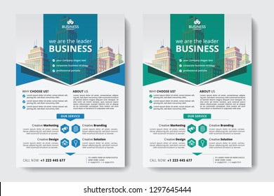 Corporate Business Flyer poster pamphlet brochure cover design layout background, two colors scheme, vector template in A4 size - Vector - Vector