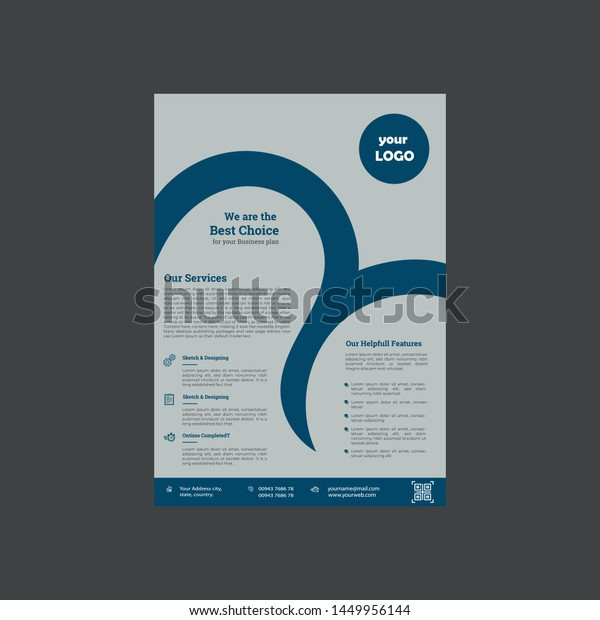 Corporate Business Flyer Template Printable Size Stock Vector Royalty Free 1449956144