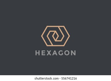 Corporate Business geometric impossible abstract Logo design vector template Linear style Hexagon looped infinity shape Logotype concept icon.