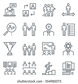 Corporate business icon set suitable for info graphics, websites and print media. Black and white flat line icons.