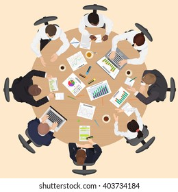 Corporate Business management teamwork meeting and brainstorming concept with people on the round table in top point of view