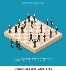 Corporate business market strategy flat style 3d isometric design vector illustration infographics concept. Businessmen are figures on chessboard playing real life game. Creative people collection.