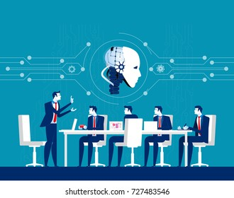 Corporate business people meeting for robot technology. Concept business discussion vector illustration. Flat design style.