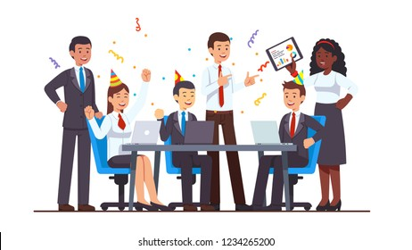 Corporate celebration party meeting. Business people man & woman celebrating project success sitting, standing at conference table with laptops and tablet pc. Flat cartoon vector isolated illustration