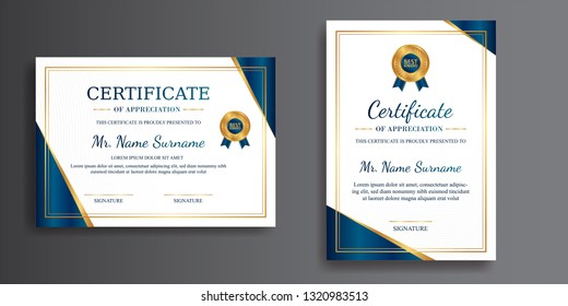 Corporate certificate of achievement template, gold and blue color. Clean modern certificate with gold badge. Certificate template with luxury and modern line pattern. Diploma vector template