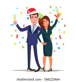 Corporate Christmas Party Vector. Smiling Drunk Man And Woman. Relaxing Celebrating Winter Concept. End Of The Years Party At Restaurant Or Office. Isolated Flat Cartoon Character Illustration