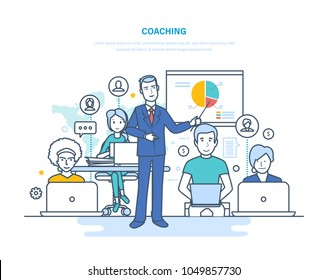 Corporate coaching, training, teaching business people, business learning, online education, distance learning. Staff training, professional development, knowledge. Illustration thin line design.