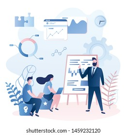 Corporate coaching or training.Teaching business people, business learning. Male tutor and two students. Presentation in modern office. Human characters in trendy style. Vector illustration