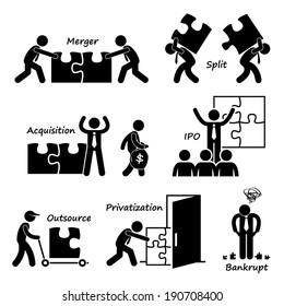 Corporate Company Business Concept Stick Figure Pictogram Icon Cliparts