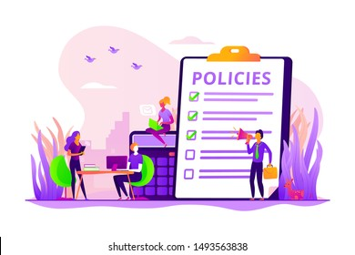 Corporate compliance. Corporate culture and policies. Representation of the business laws, regulations and standards. Ethical practices of the company. Vector isolated concept creative illustration
