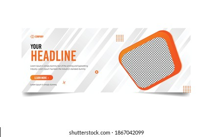 Corporate cover for social media ad,  cover template banner with white abstract background