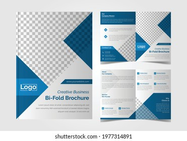 Corporate Creative Business Agency Multiple Color Bi-Fold Brochure Template Design With Cyan and Deep Blue Color matching