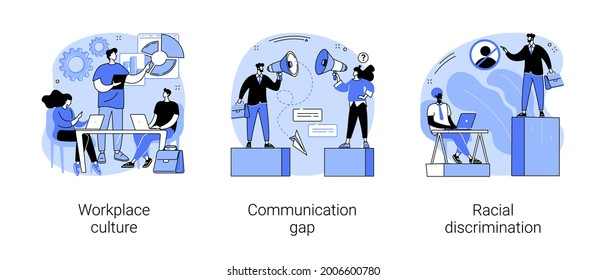 Corporate culture abstract concept vector illustration set. Workplace culture, communication gap, racial discrimination, company team, body language, bullying and harassment abstract metaphor.
