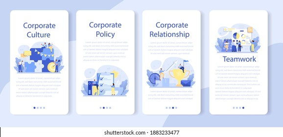 Corporate culture mobile application banner set. Corporate relations. Business ethics. Corporate regulations compliance. Company policy and business course. Isolated flat vector illustration