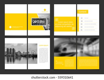 Corporate design annual report or catalog, magazine, flyer, booklet, brochure. Set include cover design and inner page layout template size A4 vector EPS-10 and sample image with Gradient Mesh.