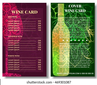 Corporate design, wine card template. Decorated pattern mandala