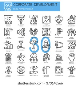 corporate development , Thin Line and Pixel Perfect Icons