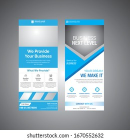 Corporate DL Flyer design with Blue Shapes, corporate business template for dl flyer. Creative concept flyer or banner layout. Real Estate or Medical Advertisement for Promotion