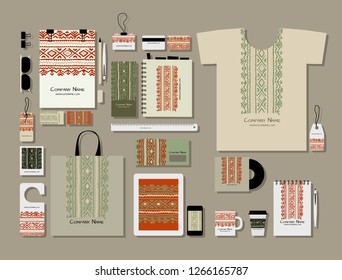 Corporate flat mock-up template, folk ornament
