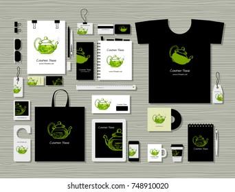 Corporate flat mock-up template, herbal tea