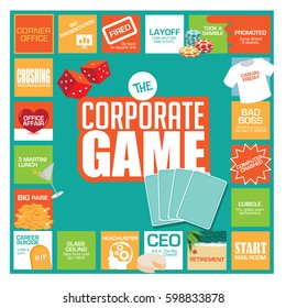 Corporate game board with humorous stops and obstacles along the way, from starting in the mailroom to CEO and retirement. Flat design. EPS 10 vector.