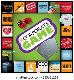 Corporate Game Infographic. With humorous milestones along the career path. EPS 8 vector, grouped for easy editing. No open shapes or paths.