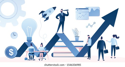 Corporate governance concept. Business leadership, managing skills, leadership training plan and success achievement. Startup or company development isolated on white background. Vector illustration