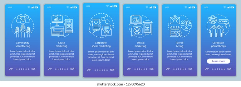 Corporate governance onboarding mobile app page screen vector template. CSR walkthrough website steps with illustrations. Corporate social responsibility policy. UX, UI, GUI smartphone interface