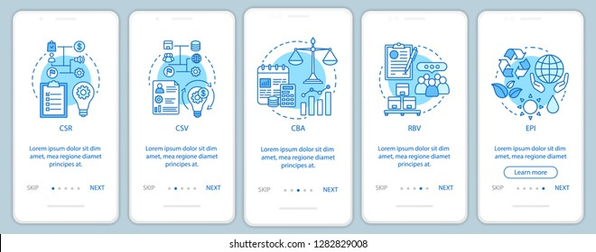Corporate governance onboarding mobile app page screen vector template. CSR. Corporate citizenship. Business ethic. Walkthrough website steps. Sustainable development. UX, UI, GUI smartphone interface