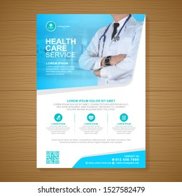 Corporate healthcare cover a4 template design and flat icons for a report and medical brochure design, flyer, leaflets decoration for printing and presentation vector illustration