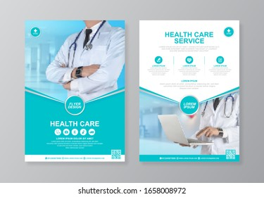 Corporate healthcare cover, back page a4 template design and flat icons for a report and medical brochure design, flyer, leaflets decoration for printing and presentation vector illustration