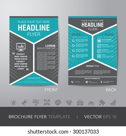corporate hexagonal brochure flyer design layout template in A4 size, with bleed, vector eps10.
