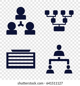 Corporate icons set. set of 4 corporate filled icons such as business center building, structure