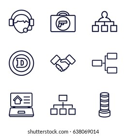 Corporate icons set. set of 9 corporate outline icons such as briefcase with weapon, business center building, d letter, structure, operator, handshake