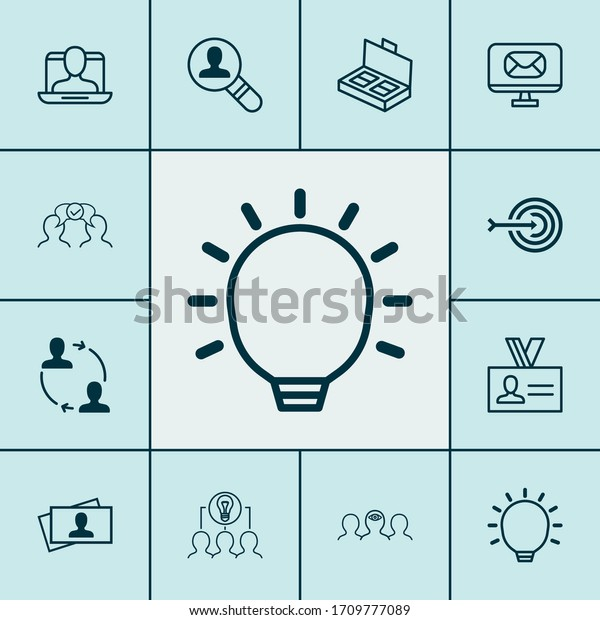 Corporate icons set with find employee, business documents, identity card and other cooperation elements. Isolated vector illustration corporate icons.