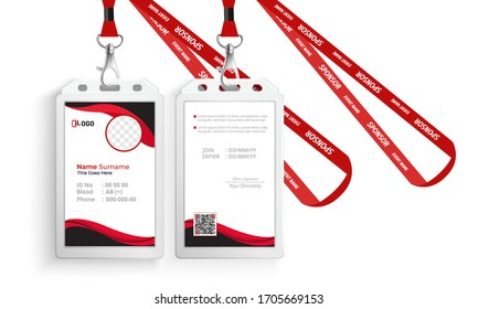 corporate id card with lanyard set isolated vector illustration. Blank plastic access card, name tag holder with pin ribbon, corporate card key, personal security badge, press event pass template.